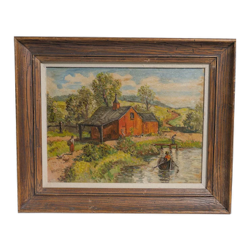 """Signed Woodstock Painting """"Red Barn- Summer"""" by NY Artist H. Harvey"""