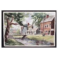 "Fine Small Town Street Scene Painting Signed With Initials ""RPG"""