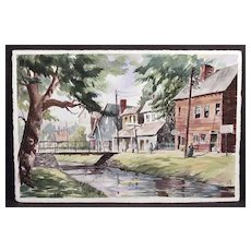 """Fine Small Town Street Scene Painting Signed With Initials """"RPG"""""""