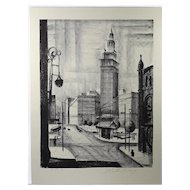 """Public Square"" Original Lithograph 1946 by Martin Linsey"