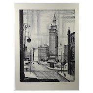 """Public Square"" Original Lithograph 1946 by Martin Linsey"