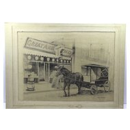 Original Pencil Drawing, Signed Ed. Merz, American Tea Company