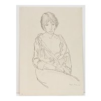 Semi-nude Drawing, Seated Woman, by Benjamin Miller 1926