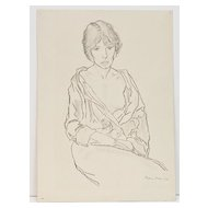 Semi-nude Drawing, Seated Woman, by Benjamin Miller 1926