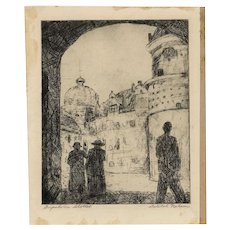 Original Etching by WI WPA Artist Delilah Nelson, Gripsholms Slott  (Gripsholsms Castle)