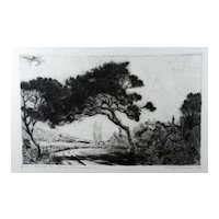 """Fine Original Etching """"Road To Nice, France"""" 1940 by Listed Chicago Artist Josef Pierre Nuyttens"""