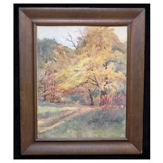 """Fine Impressionist Fall Landscape """"October"""", Exhibited,  by Listed Ohio Artist Anna P. Oviate"""