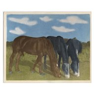 Charming Vintage Hand Colored Photo of 3 Horses