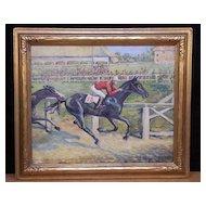 "Fine Original Oil Painting ""Lucky 13"" Horse Race by Listed VA Artist Eunice Clay Pritchett"