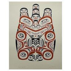 """Haida Grizzly"" by Canadian Artist Bill Reid, 1973 Silkscreen # 545/600"