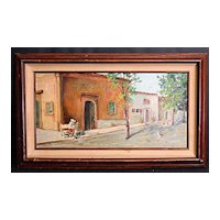 Southwestern or Mexican Street Scene, Oil on Board, Signed Ruby Spaid