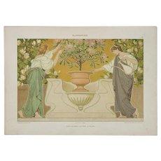 Art Nouveau Graphic Print c. 1904, Flower Care
