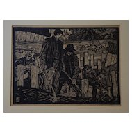 Woodblock Print by Listed WI / MI WPA Artist Allan A. F. Thomas