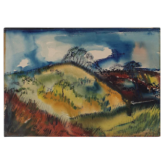 Colorful Modernist Watercolor Landscape Signed R. Tucker 1946