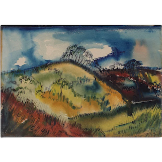 Colorful Modernist Watercolor Landscape Signed R. Tucker 1946