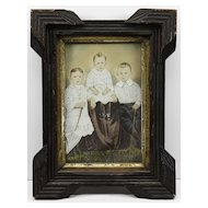 C. 1880 American Folk Art Watercolor of Three Children