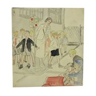 Charming c. 1940 Drawing of School Kids Playing