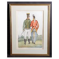 Unusual Vintage Watercolor of Two Gentlemen Walking