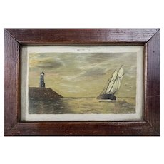 Cute Antique American Folk Art Painting of a Ship