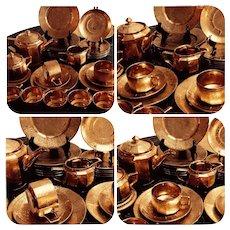 Pickard Arzberg Bavaria Germany 22 K Gold Rose & Daisy 21 PIECE Tea Set
