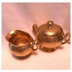 Pickard Sugar Bowl & Creamer