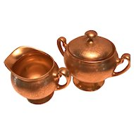 Pickard Sugar Bowl & Creamer