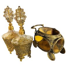 Beautiful Ormolu Casket Trinket Box & Perfume Bottles