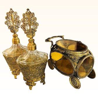 Beautiful Ormolu Casket Trinket Box & Perfume Bottles
