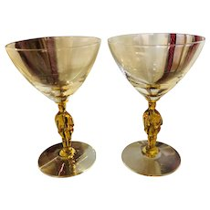 Two Vintage Martini Crystal Glasses from France