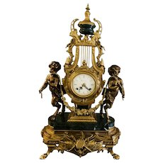 Italian Imperial Marble Brass Mantle Clock