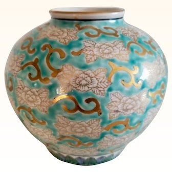 """Gold Imari Handpainted"""" One of a kind floral design"""