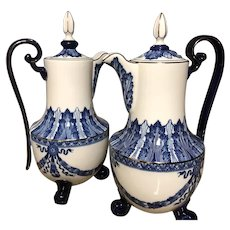 Two Bombay #BMA4 Cobalt Blue & White Tall Coffee or Chocolate Footed Pot w/ Platinum