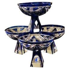7 Cobalt Vintage Bohemian Crystal Cut Cordial Liqueur Glasses