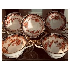 Royal Crown Derby Made in England 6 Teacups Early 1920's Imari Style