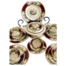 Myott Staffordshire England Chelsea Bird Tea Set Red/Maroon !6 Pieces