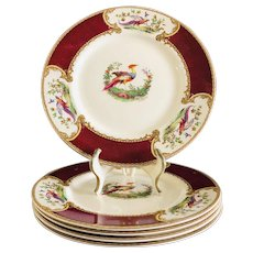 Myott Staffordshire England Chelsea Bird 5 Large Dinner Plates Red/Maroon