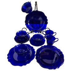 Cobalt Vintage Tea Set & Dessert Plates Set of 12