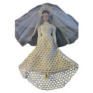 VTG Barbie Brunette Ponytail #3 Head #2 Body Crochet Wedding Gown Veil OOAK LOT