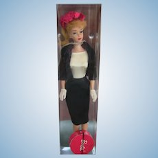 Vintage Blonde Ponytail Barbie in Commuter Outfit Hat Box Lot