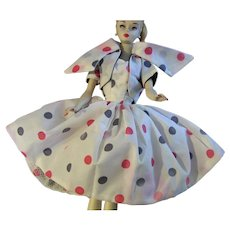 VTG HTF Halina's Fashion of Chicago Doll outfit White w/ Red Blue Polka Dot Dress and jacket (NO DOLL)