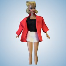 Vintage Small 7 1.2 inch Bild Lilli Genuine Original Black bathing suit Red Jacket Clothes Outfit (NO DOLL)