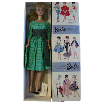Vintage Blonde Ponytail Barbie Dressed box Swingin' Easy Green dress, purse, Japan mules