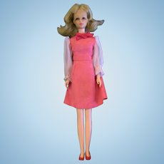 Vintage VHTF Japanese Exclusive Francie Barbie Doll in Pink Sheer Sleeve Dress