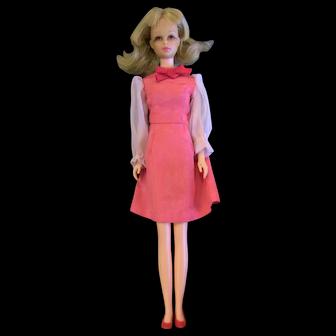 Vintage VHTF Japanese Exclusive Francie Barbie Doll in Pink Sheer Sleeve Dress