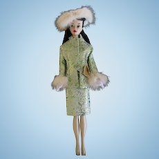 Brunette Ponytail #3 Number 3 Barbie in Green gold Fur Suit LOT