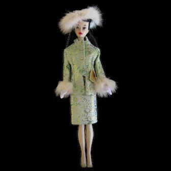 Brunette Ponytail #3 Number 3 Barbie in Green gold Fur Suit LOT