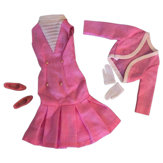 Vintage Japanese Exclusive Francie Barbie Pink White Checkered Outfit 2227 LOT