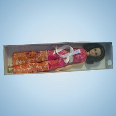 Brunette No Bang Francie Barbie Doll with plastic case and outfit