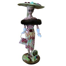 Vintage Hauser German Bild Lilli Large (11.5 inches) one of a kind outfit purse 2 hats jewelry fur dress basket gloves and Stand LOT