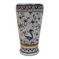 Hand Painted Vase Portugal Portuguese Flora Fauna Motif Signed